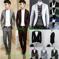 Stylish Men's Casual Slim Fit One Button Blazer Coat Jacket Tops Pants Prom Suit