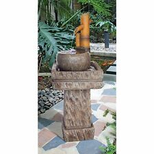 Bamboo Wellspring Pedestal Peaceful Meditative Oasis Garden Fountain