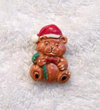 VINTAGE REPRO CHRISTMAS PIN BROOCH HAPPY TEDDY BEAR HOLIDAY STOCKING HAT CH12