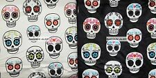 SUGAR SKULLS ~ SKULL HEADS ~ THROW BLANKET ~ MARLO LORENZ ~ BLACK IVORY COLOR