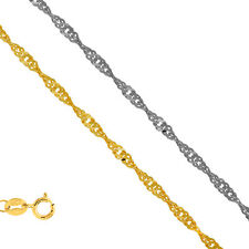10k Solid Yellow Or White Gold .8mm Singapore Chain Necklace