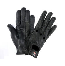 PERRINI Genuine Black LEATHER Lightweight Summer Driving / Riding Gloves S-XXL