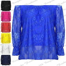New Sexy Body Lined Ladies Lace Bardot Gypsy Off Shoulder Women's Top UK 8-14