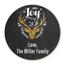 Oh Deer Glitter Personalized Christmas Round Sticker Labels - 7 sizes avaiable