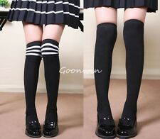 1 Pair of Schoolgirl School Uniform Over-Knee Stockings Black Mixed Color Socks