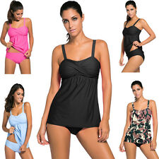 LADIES BANDEAU TANKINI Set WITH Padded SWIMWEAR 2PCS SWING Swimsuit Beachwear