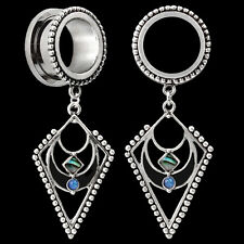 Pair Pendant w/Abalone Inlay Stainless Steel Ear Plugs Gauges Tunnels Earrings