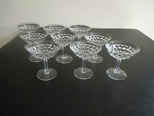"9 FOSTORIA AMERICAN CLEAR 4 3/4"" CHAMPAGNE TALL SHERBETS"