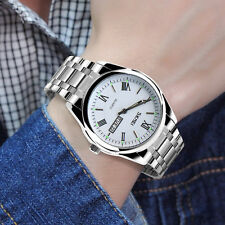 Fashion Mens Date Week Day Army Stainless Steel Busines Quartz Wrist Sport Watch