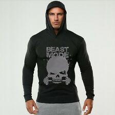 Casual Men 's cotton long - sleeved thin section letter skull sweater T - shirt