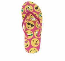 NWT Girls Emoji Flip Flops Sandals With Pink And Yellow Sizes 11 12 1 2 3 4 5