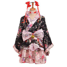Japanese Lolita Sakura Kimono Maid Uniform Outfit Cosplay Costume Party Dress