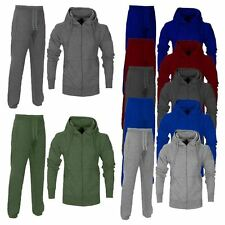 New Mens Plain Jogging Full Tracksuit Set Joggers Gym Fleece Hoodie Top Bottoms