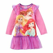 Disney Princesses Nightgown Toddler girls Pink tulle ruffle dress size 2 new