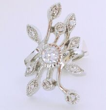 New!  Beautiful Rhodium Multi Clear Cubic Zirconia Cocktail Ring 18KGE Plated