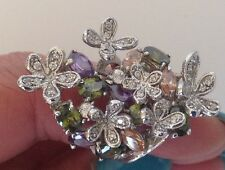 New!  Beautiful Rhodium Multi color Cubic Zirconia Cocktail Ring 18KGE Plated