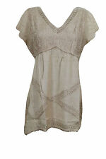 Bohemian Women's Beige Embroidered Rayon Hippy Gypsy Boho Tunic Top Blouse