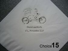 100 Personalised Wedding Napkins 9 NEW  designs, choice of napkin & print colour