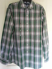 Tommy Hilfiger Mens Dress/Casual Shirt Button-Up Collar Green Plaid Sz M - XXL