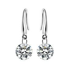 Fashion 925 Sterling Silver Zircon Crystal Ear Hook Dangle Earrings Jewelry Gift