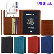 RFID Blocking Leather Case 9 Slot Passport Card Holder Travel Wallet Cover Case