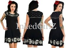 NWT Too Fast DAME DRESS PATCHWORK Skull Black Roses RockABilly Retro 50s Swing
