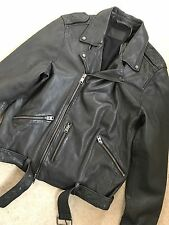 "ALL SAINTS ANTHRACITE GREY ""KAHAWA"" LEATHER BIKER JACKET COAT XS S L XL NEW TAGS"