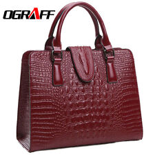 Genuine Leather Ladies Hand Bag OGRAFF Brand Crocodile Pattern  Ricly Crafted