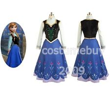 Disney Frozen Princess Anna Cosplay Costume Adult 3 pcs Uniform Dress Ball Gown