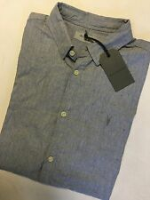 "ALL SAINTS GREY MARL ""WAYCROSS"" SHORT SLEEVE LOGO SHIRT TOP - XS S - NEW TAGS"