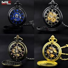 Steampunk Mechanical Pocket Chain Antique Fob Watch Windup Retro Men Analog Gift
