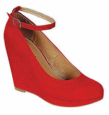 Red High Heel Platform Wedge Closed Toe Ankle Strap Womens Pumps Shoes