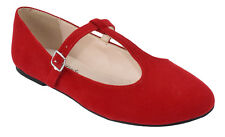 CityClassified Women Ballet Flats Mary Jane Shoes Red Suede Ankle T-Strap DUFFEL