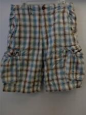 mens AMERICAN EAGLE LONGER LENGTH blue brown plaid CARGO shorts sz 32 clean