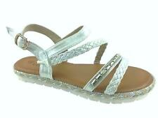 LADIES FLAT FAUX LEATHER BUCKLE UP STRAPPY SANDALS WHITE SIZE 3-8