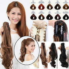 "18""-26"" Natural Claw Clip in on Ponytail Hair Extension Pony Tail Brown Blonde A"