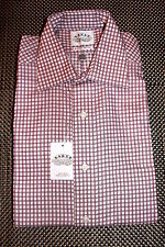 EAGLE MENS NON IRON DESIGNER DRESS SHIRT RED/WHITE CHECK 3 SIZES RP $69.50 NWT