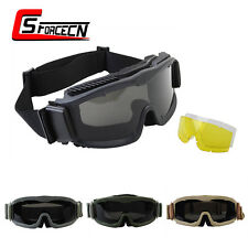 Tactical Airsoft Military Paintball Anti-fog Full Set Goggle Glasses w/ 3pc Lens