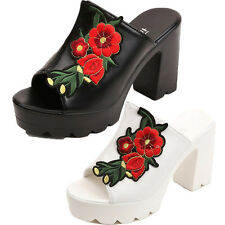 Chunky Block High Heel Mule Slide Open Toe Women's Shoes Fashion Flowers Sexy G