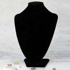 Black Velvet Necklace Pendant Chain Link Jewelry Bust Display Holder Stand ~F