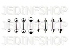 Straight Barbell Tongue Nipple Bar - 1.2mm (16g) - 12mm - Stainless Steel