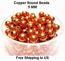 5 MM Copper Round Hollow Beads Hole 1.8 MM (Genuine Solid Copper)
