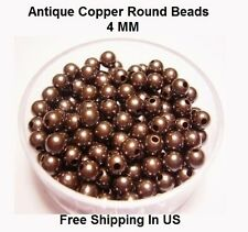 4 MM Antique Copper Round Hollow Beads Hole 1.0 MM (Genuine Solid Copper)