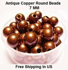 7 MM Antique Copper Round Hollow Beads Hole 2.5 MM (Genuine Solid Copper)