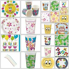 Single Use Cup Plate Napkins Straws Birthday Party BBQ BBQ Solid