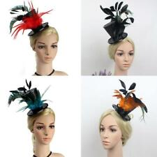 Vintage Flapper Feather Top Hat w/ Sequin Decor 20s Charleston Party Fascinator