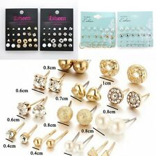 12 Pair Women Fashion Earrings Gift Elegant Pearl Crystal Rhinestone Ear Studs