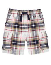 GYMBOREE ALL STAR CHAMP RED PLAID CARGO WOVEN PULL-ON SHORTS 4T NWT