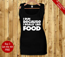 I run because I really like food ladies exercise gym running tank tops vest