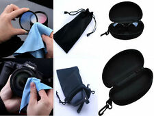 Microfibre Lens / Glasses Cleaning Cloths Pouch Black Case For Reading Glasses